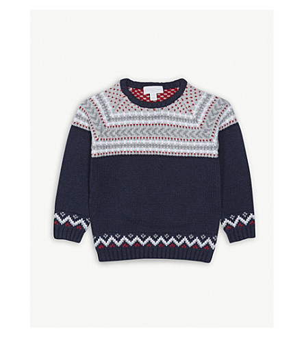 THE LITTLE WHITE COMPANY Fair Isle knitted cotton jumper 2-6 years (Navy