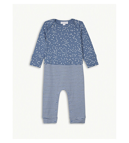 THE LITTLE WHITE COMPANY Fish print cotton sleepsuit 0-24 months (Blue