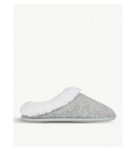 THE WHITE COMPANY Felt faux-fur slippers (Pale+grey+marl
