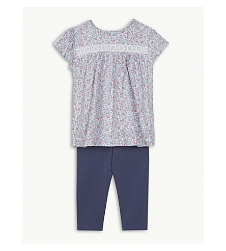 THE LITTLE WHITE COMPANY Floral blouse and leggings set 1-6 years (Multi