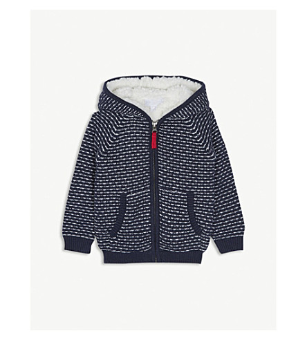 THE LITTLE WHITE COMPANY Fleece-lined knitted hoody 1-6 years (Navy
