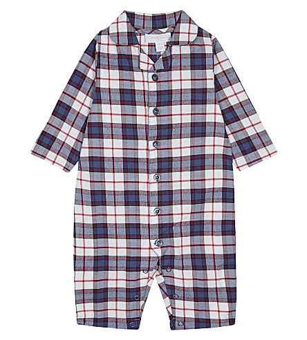 THE LITTLE WHITE COMPANY Checked flannel sleepsuit 0-24 months (Multi