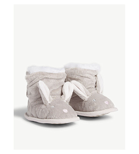 THE LITTLE WHITE COMPANY Faux-fur Bunny bootees 0-24 months (Pale+fawn