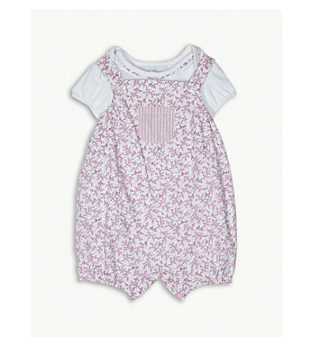 THE LITTLE WHITE COMPANY Floral print dungarees set 0-24 months (Pink