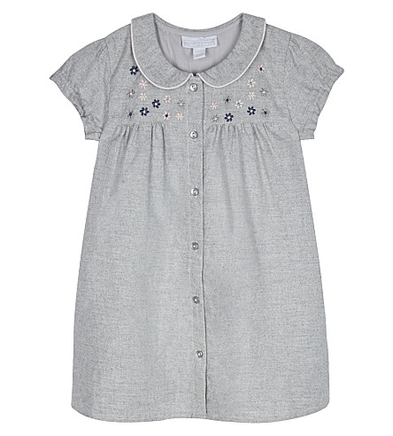 THE LITTLE WHITE COMPANY Floral cotton dress (Grey+marl