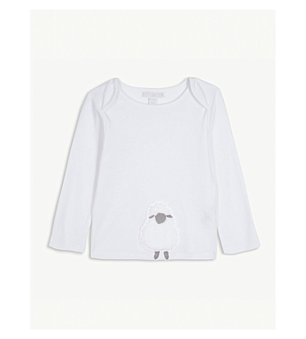 THE LITTLE WHITE COMPANY Fluffy lamb cotton T-shirt 0-24 months (White