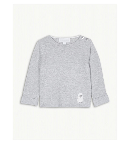 THE LITTLE WHITE COMPANY Fluffy sheep cotton jumper 0-24 months (Grey