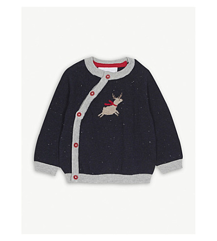 THE LITTLE WHITE COMPANY Flying reindeer cotton jumper 0-24 months (Navy