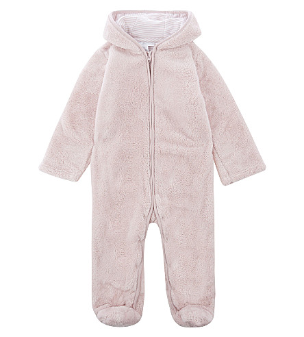 THE LITTLE WHITE COMPANY Fleece hooded baby-grow 0-18 months (Pink