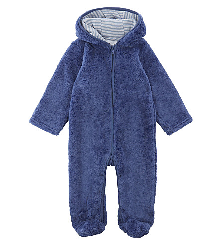 THE LITTLE WHITE COMPANY Hooded fleece onesie 0-18 months (Blue