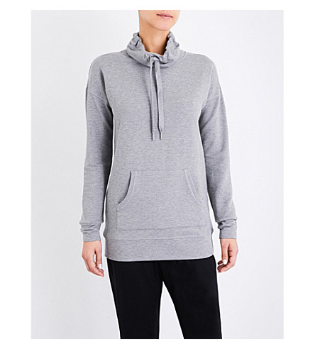 THE WHITE COMPANY Funnel-neck stretch-jersey top (Mid+grey+marl
