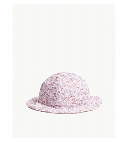 THE LITTLE WHITE COMPANY Floral print cotton hat 0-24 months (Pink