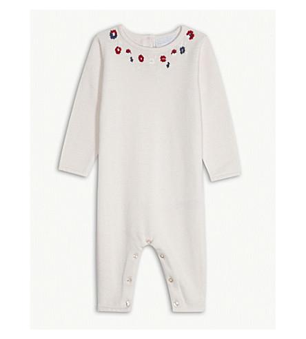 THE LITTLE WHITE COMPANY Floral cotton bodysuit 0-24 months (Chalk+pink