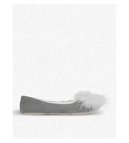 THE WHITE COMPANY Feather pom-pom ballet slippers (Dark+grey