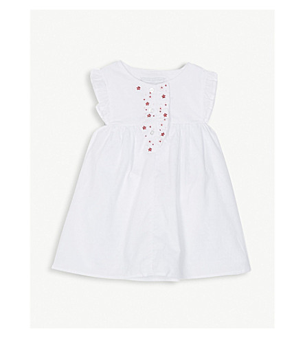 THE LITTLE WHITE COMPANY Embroidered floral frill cotton dress 0-24 months (White