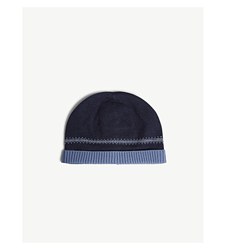 THE LITTLE WHITE COMPANY Fair Isle knitted cotton hat 0-24 months (Navy+marl