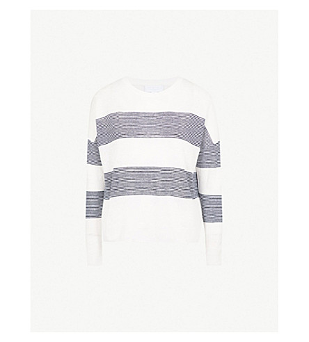 THE WHITE COMPANY Breton stripe linen jumper (Porcelain