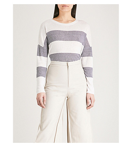 THE WHITE COMPANY Breton stripe linen jumper (Porcelain