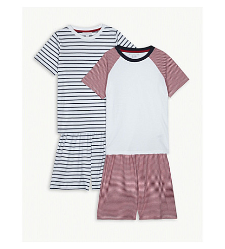 THE LITTLE WHITE COMPANY Striped cotton pyjama set of two 7-12 years (Multi