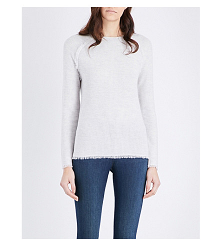 THE WHITE COMPANY Fringe-trim wool sweater (Pale+grey+marl