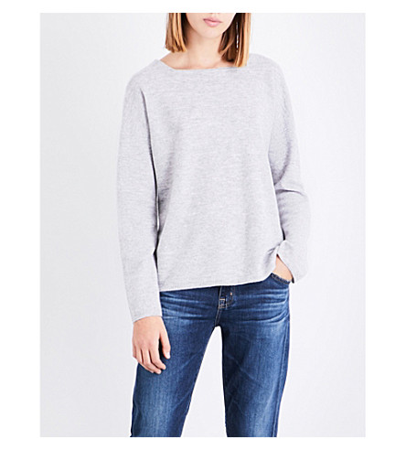 THE WHITE COMPANY Boat-neck wool jumper (Pale+grey+marl