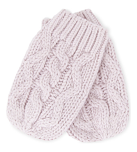 THE LITTLE WHITE COMPANY Knitted mittens (Pink