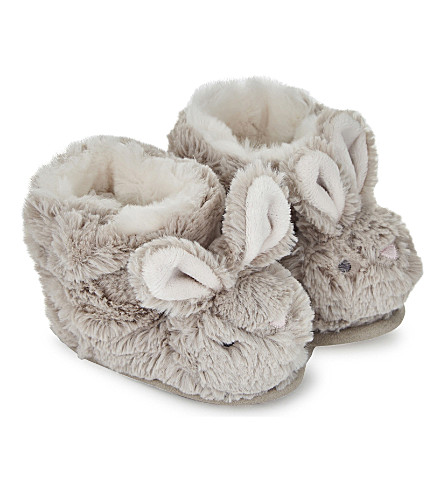 THE LITTLE WHITE COMPANY Fluffy bunny slipper boots 0-24 months (White