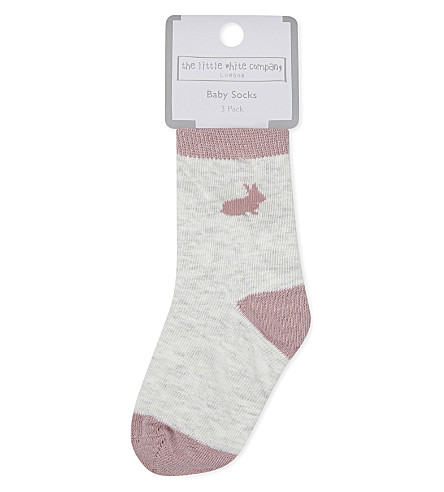 THE LITTLE WHITE COMPANY Pack of three bunny cotton socks 0-24 months (Multi