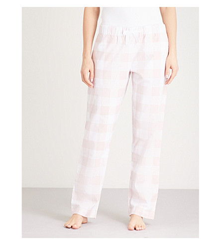 THE WHITE COMPANY Gingham flannel pyjama bottoms (Pale+pink