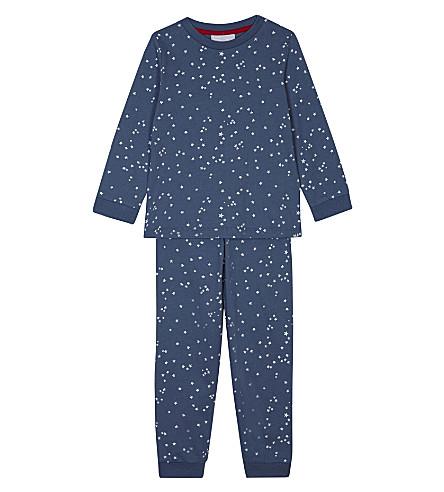 THE LITTLE WHITE COMPANY Glow in the dark star print cotton pyjama set 1-6 years (Blue