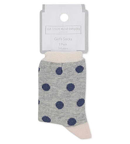 THE LITTLE WHITE COMPANY Pack of three cotton socks 1-6 years (Multi