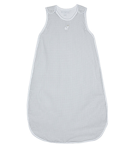 THE LITTLE WHITE COMPANY Gingham check sleeping bag 0.5 tog 0-6 months (White/grey