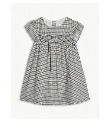 THE LITTLE WHITE COMPANY Gingham flannel-cotton dress 0-24 months (Multi