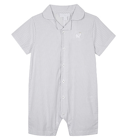 THE LITTLE WHITE COMPANY Kimbo gingham cotton shortall Newborn-24 months (White/grey