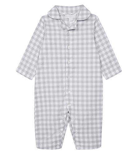 THE LITTLE WHITE COMPANY Gingham check sleep suit 0-18 months (Grey