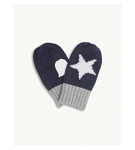 THE LITTLE WHITE COMPANY Glow-in-the-dark star motif cotton mittens 1-3 years (Navy