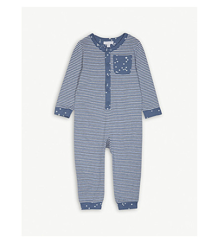 THE LITTLE WHITE COMPANY Stars and stripes print glow in the dark cotton all-in-one 1-6 years (Blue