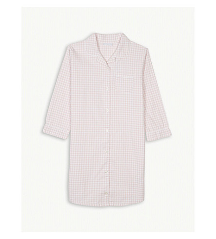THE LITTLE WHITE COMPANY Gingham check cotton nightshirt 7-12 years (Chalk+pink