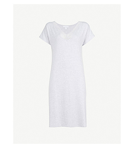 THE WHITE COMPANY Lace-trimmed jersey night dress (Pale+grey+marl