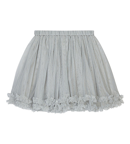 THE LITTLE WHITE COMPANY Frilled tulle tutu skirt 1-6 years (Grey