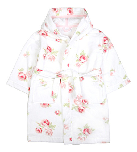 THE LITTLE WHITE COMPANY - Gracie floral-print velour robe 1-6 years ...
