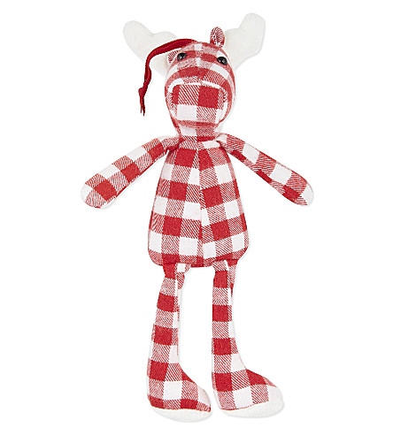 THE LITTLE WHITE COMPANY Mini gingham reindeer (Red