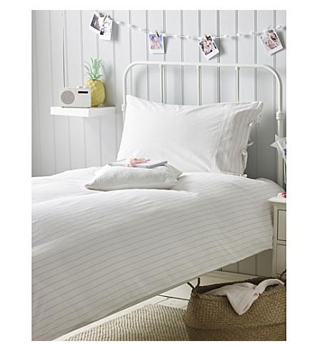 THE LITTLE WHITE COMPANY Seersucker cotton standard pillowcase and duvet set (Pink+stripe