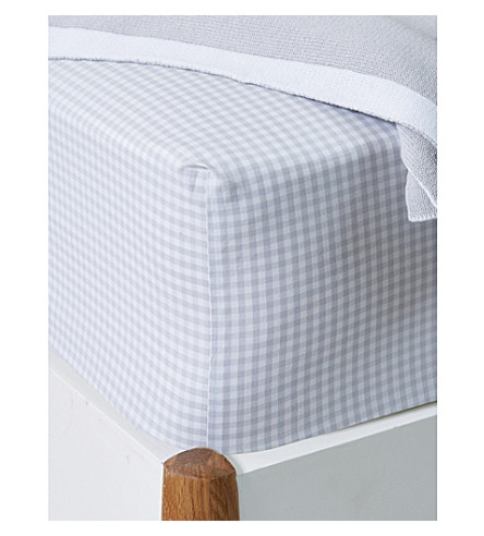 THE LITTLE WHITE COMPANY Gingham check cotton fitted single sheet (Cool+grey