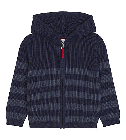 THE LITTLE WHITE COMPANY Striped cotton hoody 1-6 years (Navy