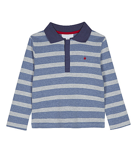 THE LITTLE WHITE COMPANY Half-zip cotton rugby jumper 1-6 years (Multi