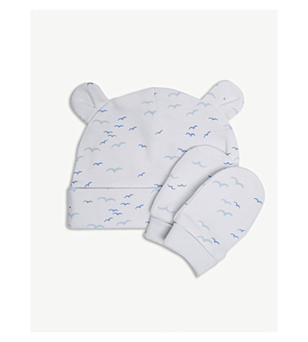 THE LITTLE WHITE COMPANY Seagull pattern cotton hat and mitts (White