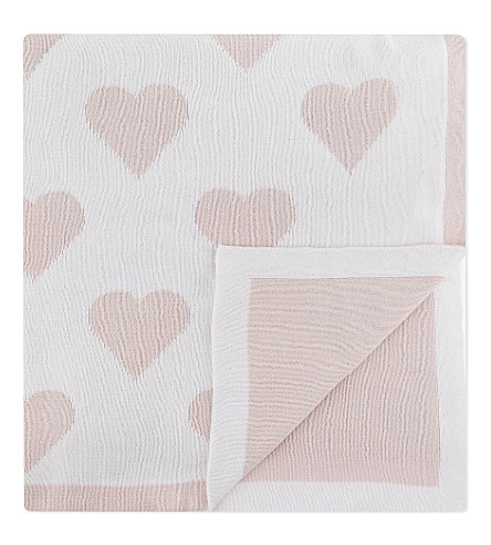 THE LITTLE WHITE COMPANY Reversible heart-pattern baby blanket (Baby+pink