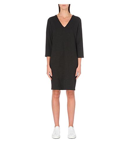 THE WHITE COMPANY V-neck stretch-jersey dress (Darkcharcmarl