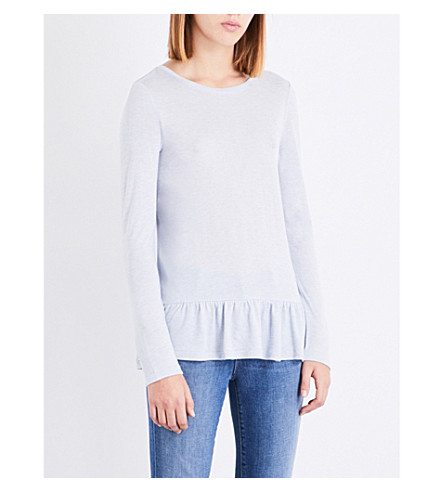 THE WHITE COMPANY Peplum-hem wool-blend top (Pale+blue+marl